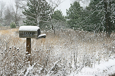 Snow Covered Rural Mailbox
