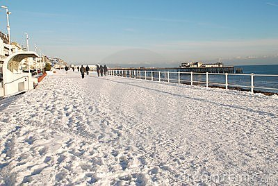 Snow covered seafront, St.Leonards-on-Sea Editorial Stock Image