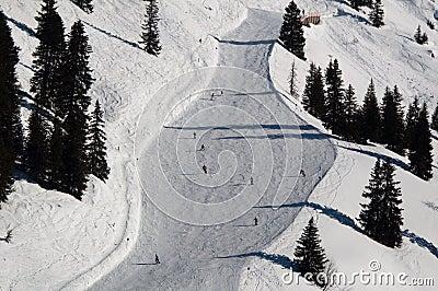 Snow covered ski piste