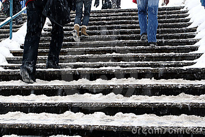 Snow covered stairs