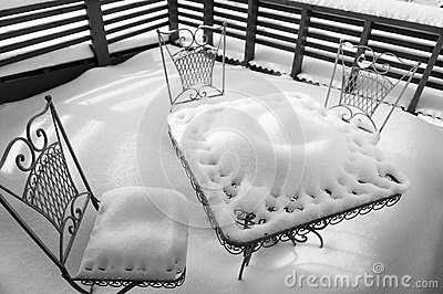 Table for three at winter time