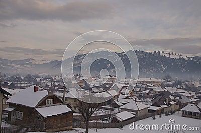 Snow covered village, Vama, Bucovina