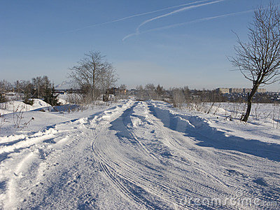 Snow-covered winter road