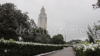 Snow Day Downtown Baton Rouge State Capitol stock footage