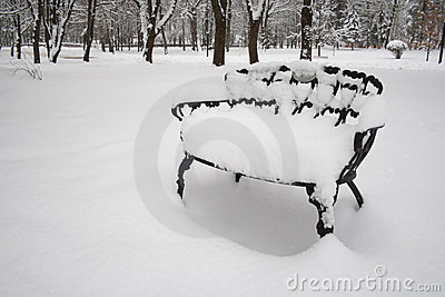 Snow on Deck Chair