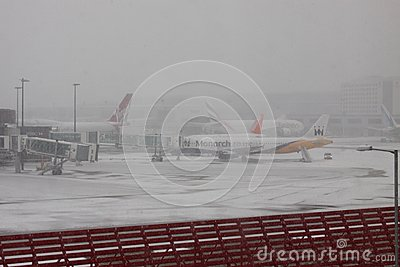Snow Disruption at Gatwick Airport Editorial Image