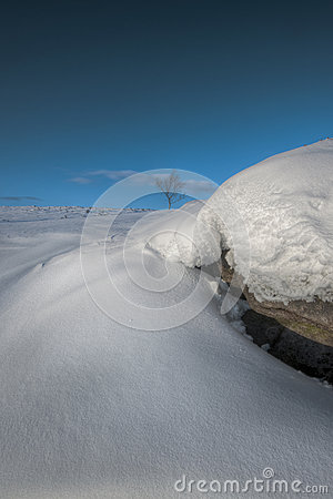 Snow Drift on Stanage Edge