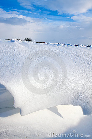 Snow dune in a ditch