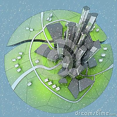 Snow falling cityscape of island city