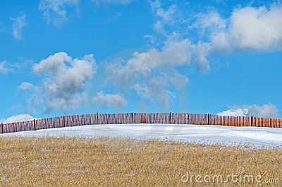Snow Fence in Field