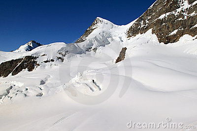 Snow fields of the Jungfrau in the Swiss Alps