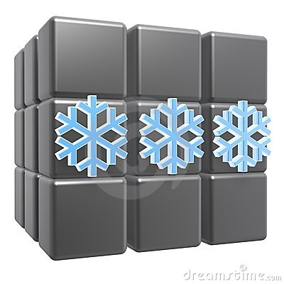 Snow flake on cubes
