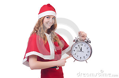 Snow girl with clock