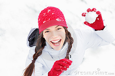 Snow girl having winter fun