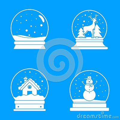 Free Snow Globe Ball Christmas Icons Set, Simple Style Royalty Free Stock Photos - 126459328