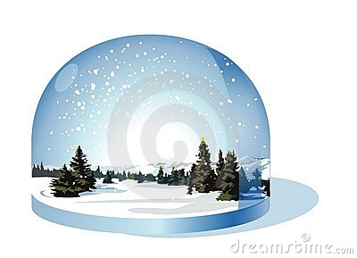 Snow globe with a Christmas landscape