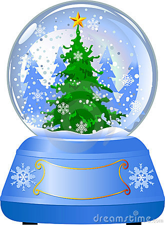 Snow globe with a Christmas tree