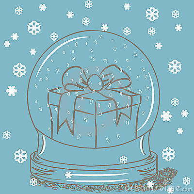Snow globe with gift box inside