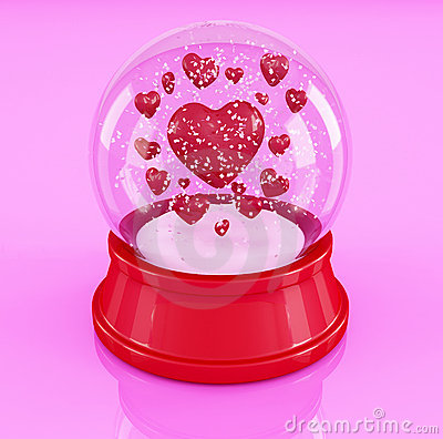Snow globe with hearts on pink background