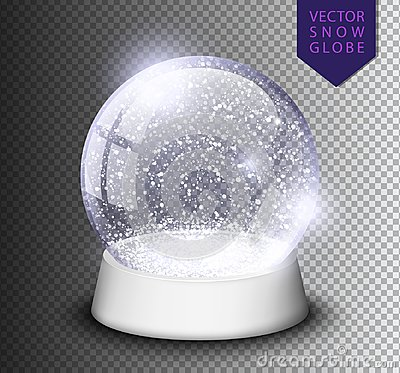 Snow globe isolated template empty on transparent background. Christmas magic ball. Realistic Xmas snowglobe vector illustration. Vector Illustration