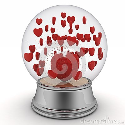 Snow globe with red hearts