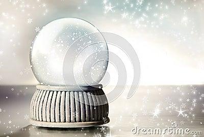 Snow globe with silver stars