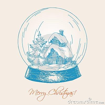 Decorative Hand Drawn Snow Globe