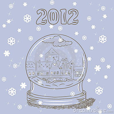 Snow globe with small European town inside