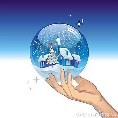 Snow globe with small town