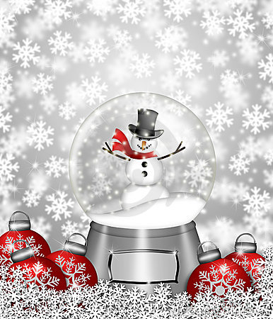 Snow Globe Snowman and Christmas Tree Ornaments