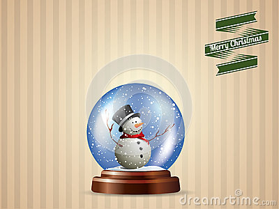 Snow globe with snowman postcard