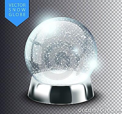 Free Snow Globe  Template Empty On Transparent Background. Christmas Magic Ball. Realistic Xmas Snowglobe Vector Illustration Stock Photo - 100966240