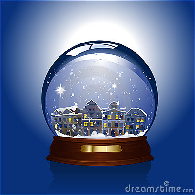 Snow globe with town inside