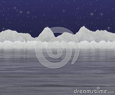 Snow and lake
