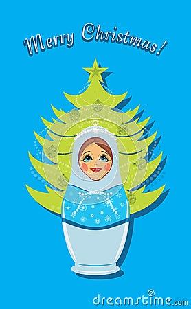 Snow maiden and Christmas fir tree. Postcard