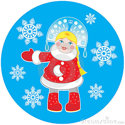 Snow Maiden on a round blue background