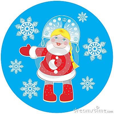 Snow Maiden on a round blue background
