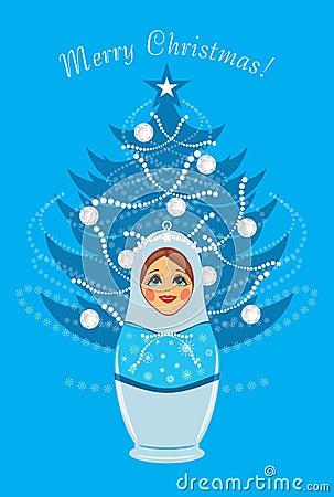 Snow maiden and shining Christmas fir tree