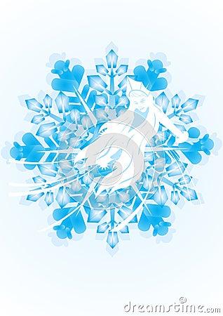 Snow Maiden on a snowflake