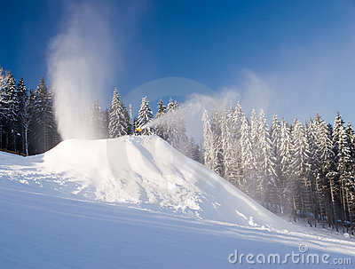 Snow makers in action