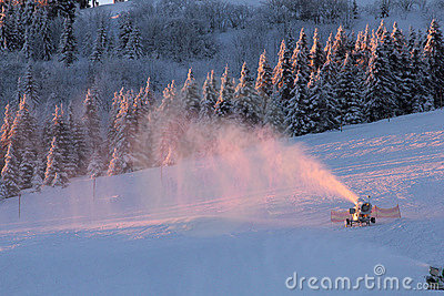 Snow making on ski slope