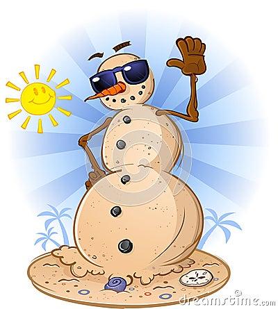 Snow Man at the Beach