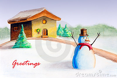 Snow man christmas card