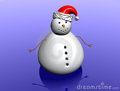 Snow man with christmas hat