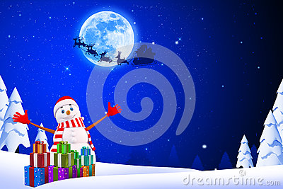 Snow Man Is Jumping With Lots Of Gifts Stock Photos - Image: 26666573