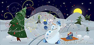 Snow man making firework banner