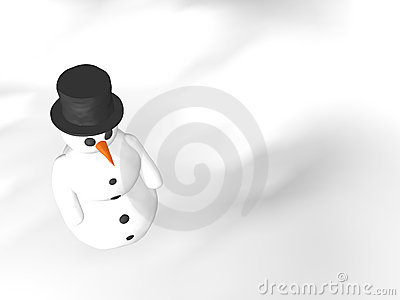 Snow man over white