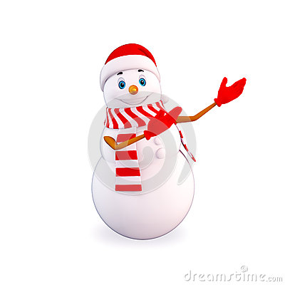 Snow man pointing towards blank