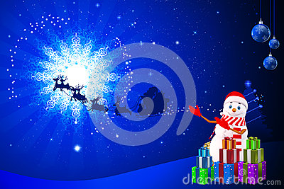 Snow man is pointing towards sleigh on blue back