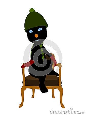 Snow Man Sitting In A Chair Silhouette